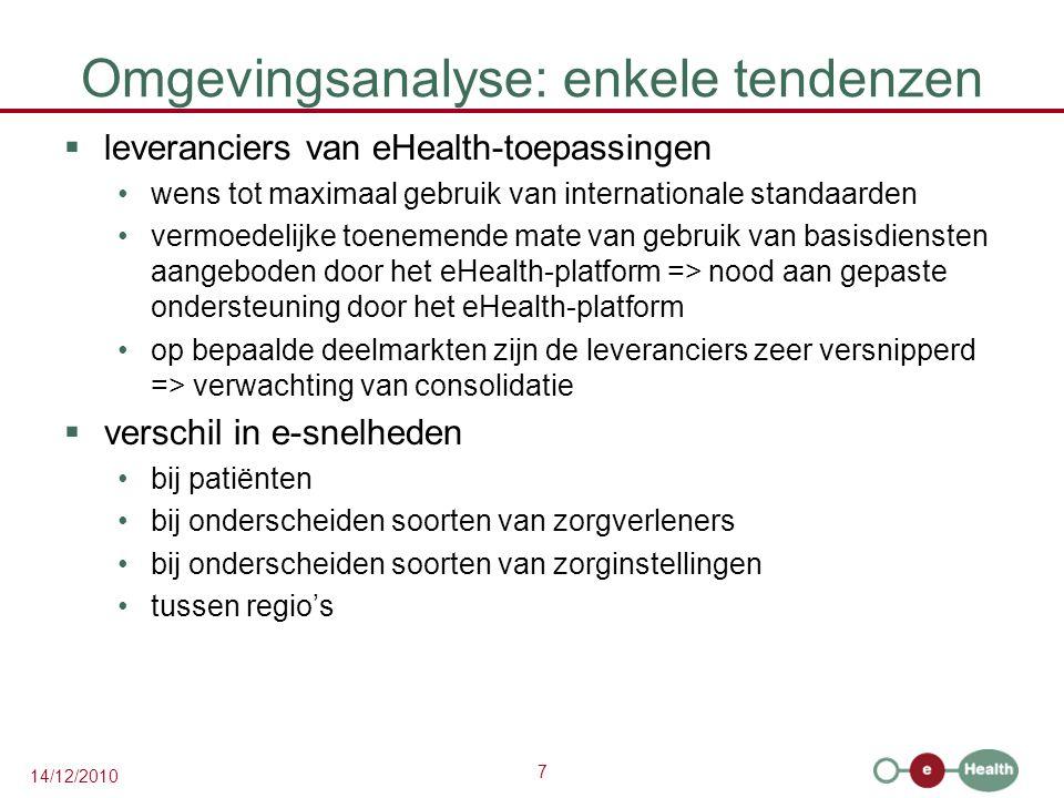 7 14/12/2010 Omgevingsanalyse: enkele tendenzen  leveranciers van eHealth-toepassingen wens tot maximaal gebruik van internationale standaarden vermo