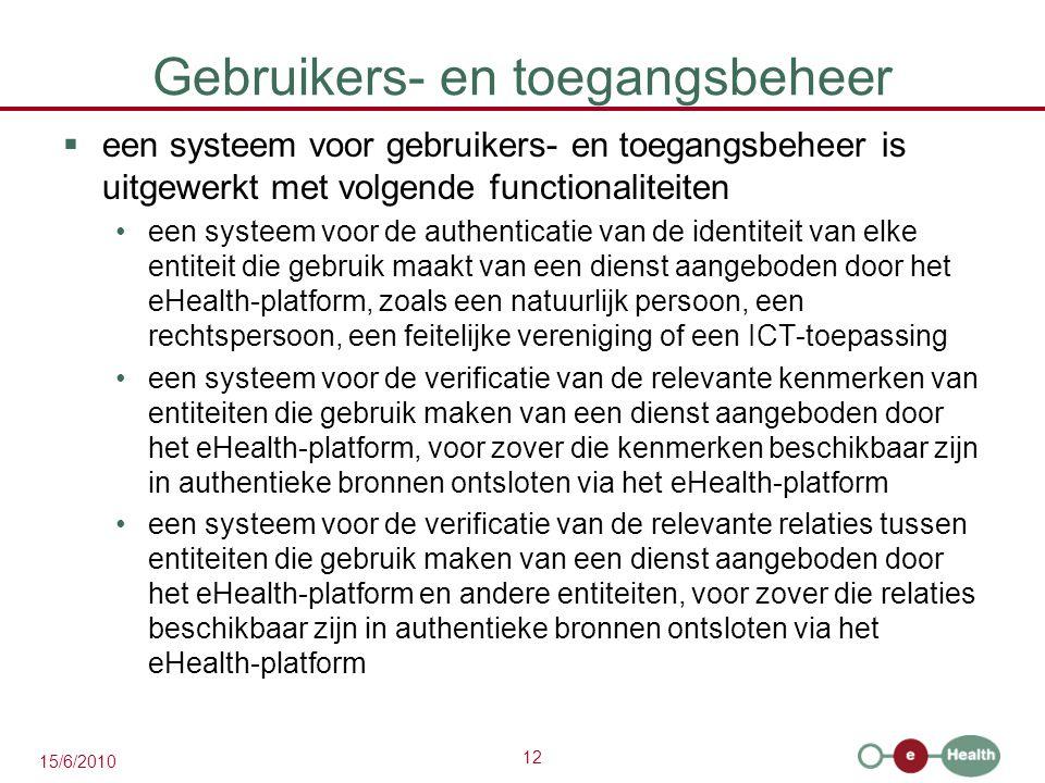 12 15/6/2010 Gebruikers- en toegangsbeheer  een systeem voor gebruikers- en toegangsbeheer is uitgewerkt met volgende functionaliteiten een systeem v