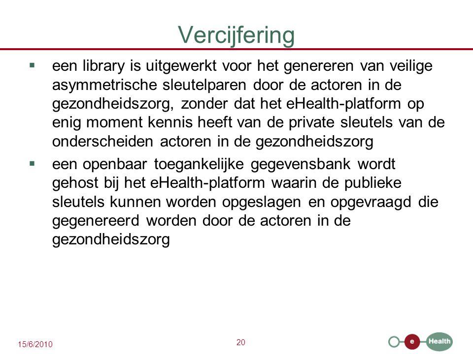 20 15/6/2010 Vercijfering  een library is uitgewerkt voor het genereren van veilige asymmetrische sleutelparen door de actoren in de gezondheidszorg,