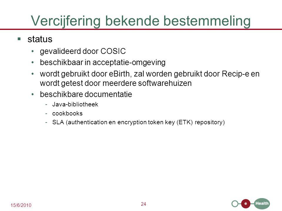 24 15/6/2010 Vercijfering bekende bestemmeling  status gevalideerd door COSIC beschikbaar in acceptatie-omgeving wordt gebruikt door eBirth, zal word