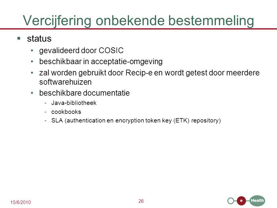 26 15/6/2010 Vercijfering onbekende bestemmeling  status gevalideerd door COSIC beschikbaar in acceptatie-omgeving zal worden gebruikt door Recip-e e