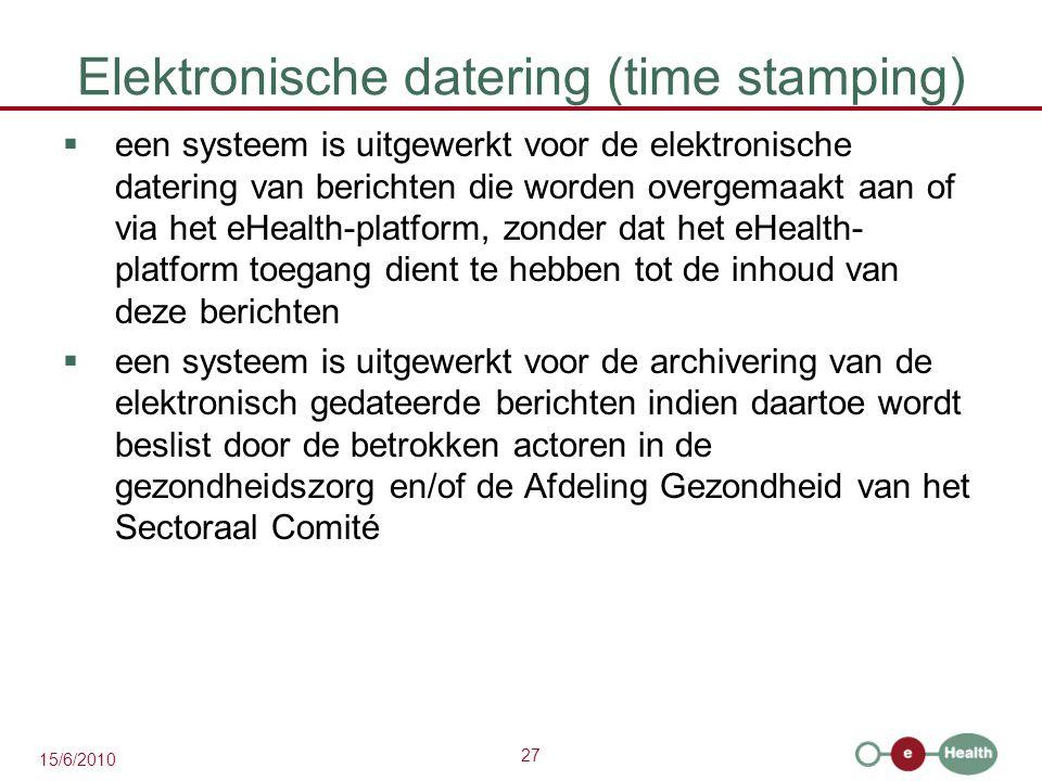 27 15/6/2010 Elektronische datering (time stamping)  een systeem is uitgewerkt voor de elektronische datering van berichten die worden overgemaakt aa