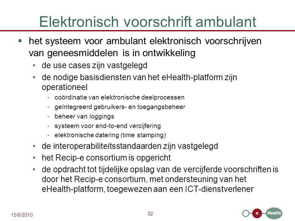 32 15/6/2010 Elektronisch voorschrift ambulant  het systeem voor ambulant elektronisch voorschrijven van geneesmiddelen is in ontwikkeling de use cas