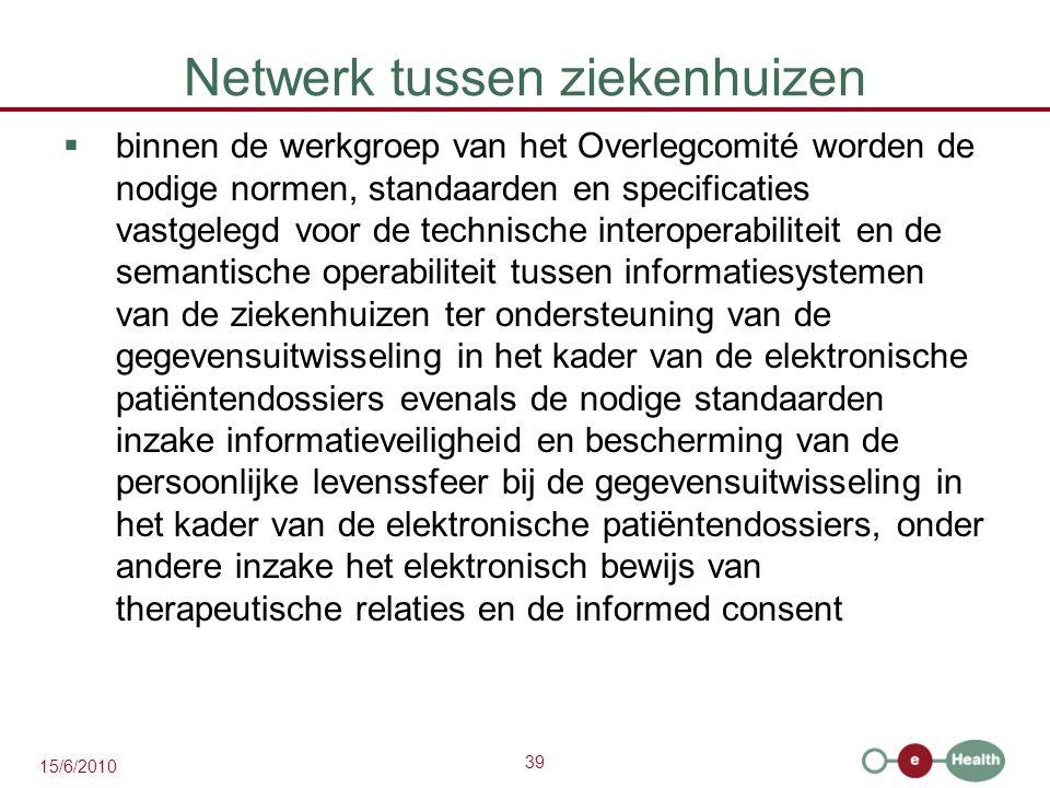 39 15/6/2010 Netwerk tussen ziekenhuizen  binnen de werkgroep van het Overlegcomité worden de nodige normen, standaarden en specificaties vastgelegd