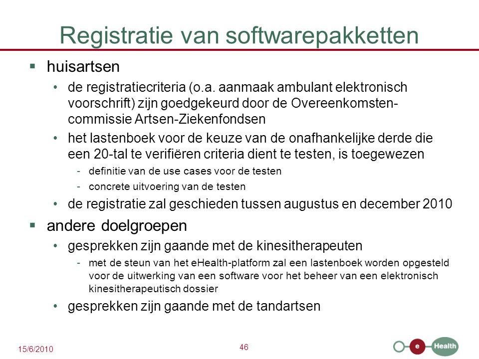 46 15/6/2010 Registratie van softwarepakketten  huisartsen de registratiecriteria (o.a. aanmaak ambulant elektronisch voorschrift) zijn goedgekeurd d