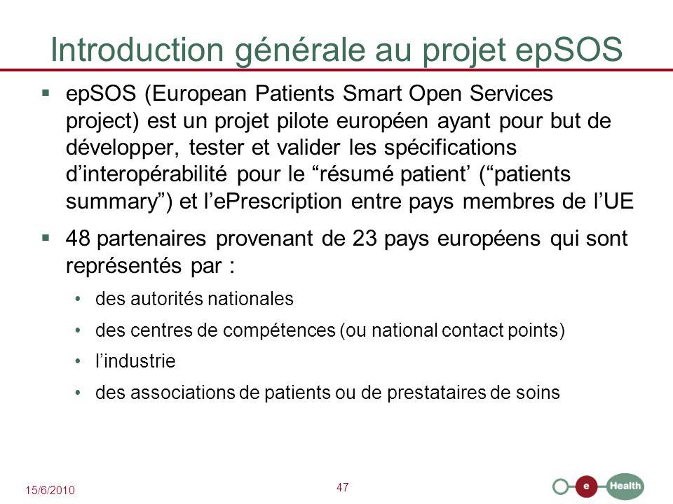 47 15/6/2010 Introduction générale au projet epSOS  epSOS (European Patients Smart Open Services project) est un projet pilote européen ayant pour bu