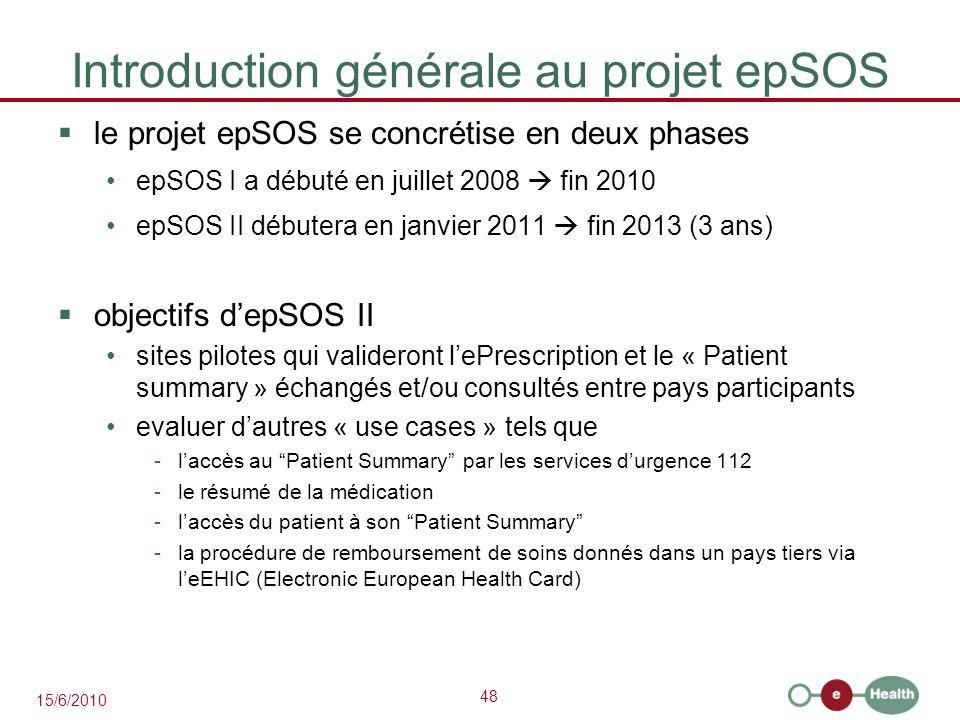 48 15/6/2010 Introduction générale au projet epSOS  le projet epSOS se concrétise en deux phases epSOS I a débuté en juillet 2008  fin 2010 epSOS II