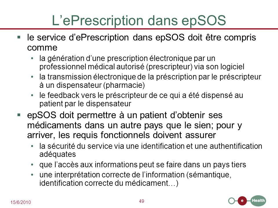 49 15/6/2010 L'ePrescription dans epSOS  le service d'ePrescription dans epSOS doit être compris comme la génération d'une prescription électronique