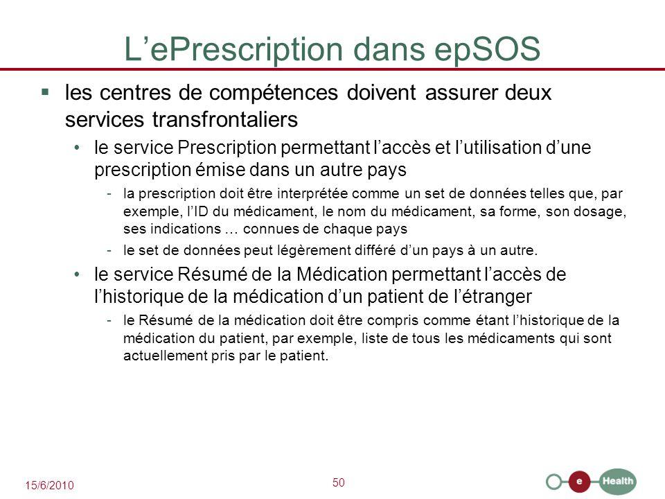 50 15/6/2010 L'ePrescription dans epSOS  les centres de compétences doivent assurer deux services transfrontaliers le service Prescription permettant