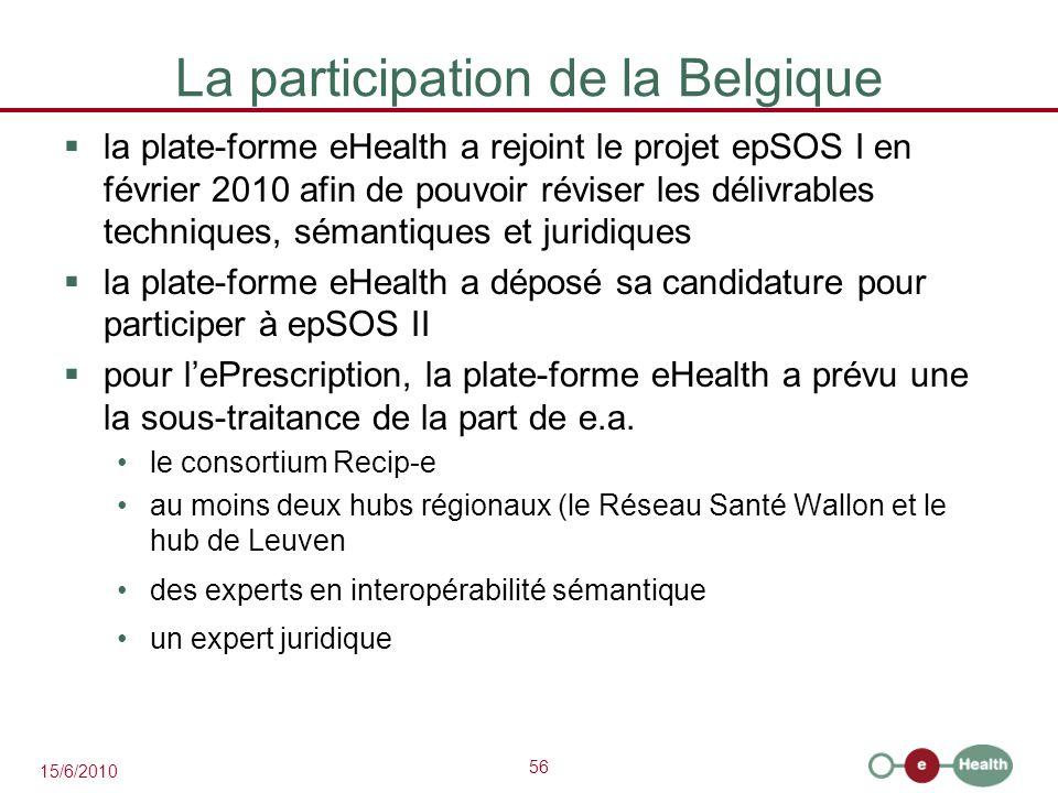 56 15/6/2010 La participation de la Belgique  la plate-forme eHealth a rejoint le projet epSOS I en février 2010 afin de pouvoir réviser les délivrab