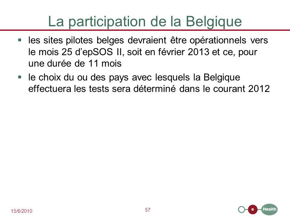 57 15/6/2010 La participation de la Belgique  les sites pilotes belges devraient être opérationnels vers le mois 25 d'epSOS II, soit en février 2013