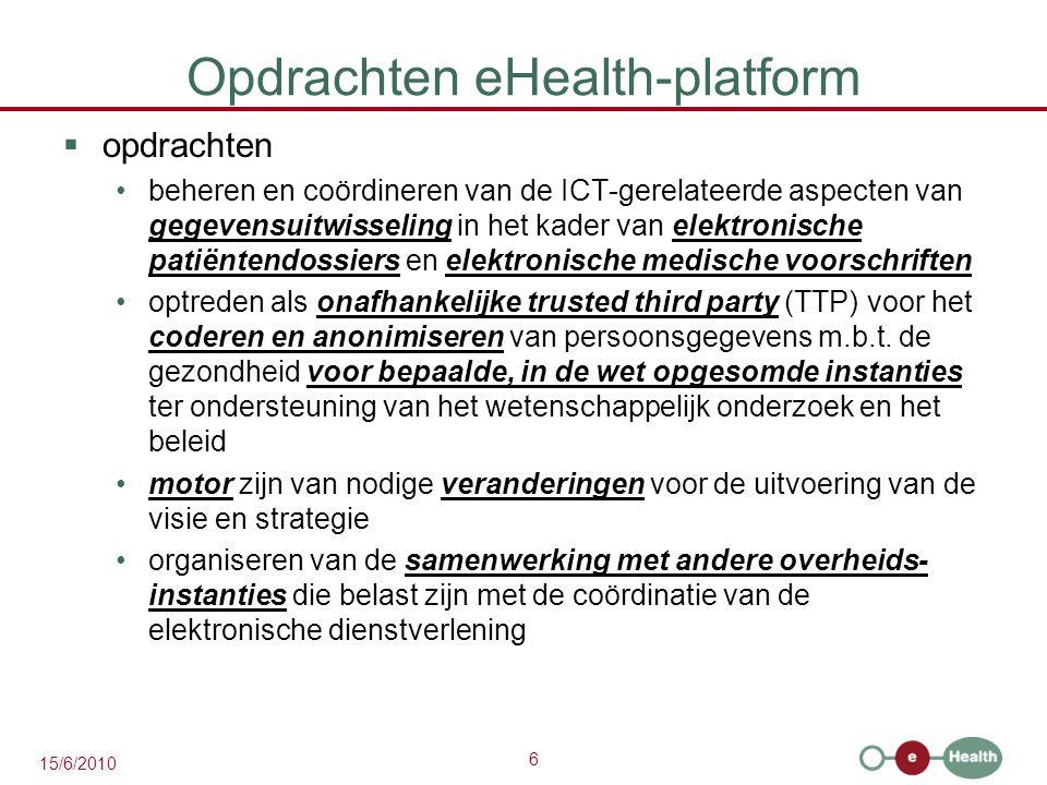 6 15/6/2010 Opdrachten eHealth-platform  opdrachten beheren en coördineren van de ICT-gerelateerde aspecten van gegevensuitwisseling in het kader van