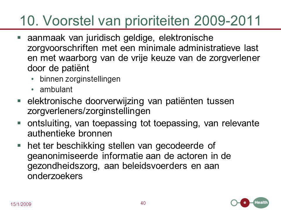 40 15/1/2009 10. Voorstel van prioriteiten 2009-2011  aanmaak van juridisch geldige, elektronische zorgvoorschriften met een minimale administratieve