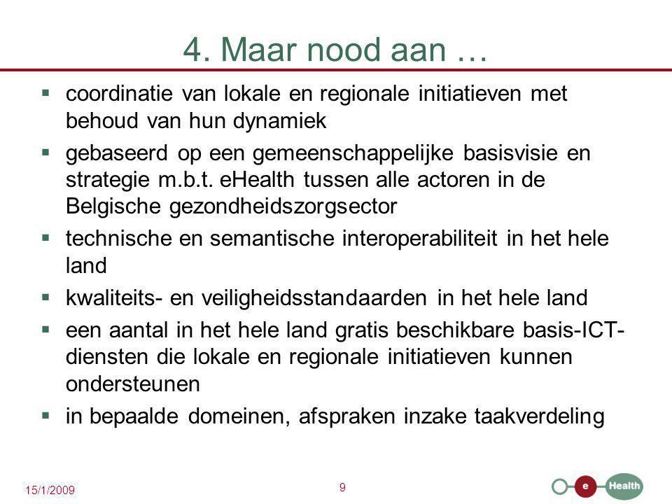 9 15/1/2009 4. Maar nood aan …  coordinatie van lokale en regionale initiatieven met behoud van hun dynamiek  gebaseerd op een gemeenschappelijke ba