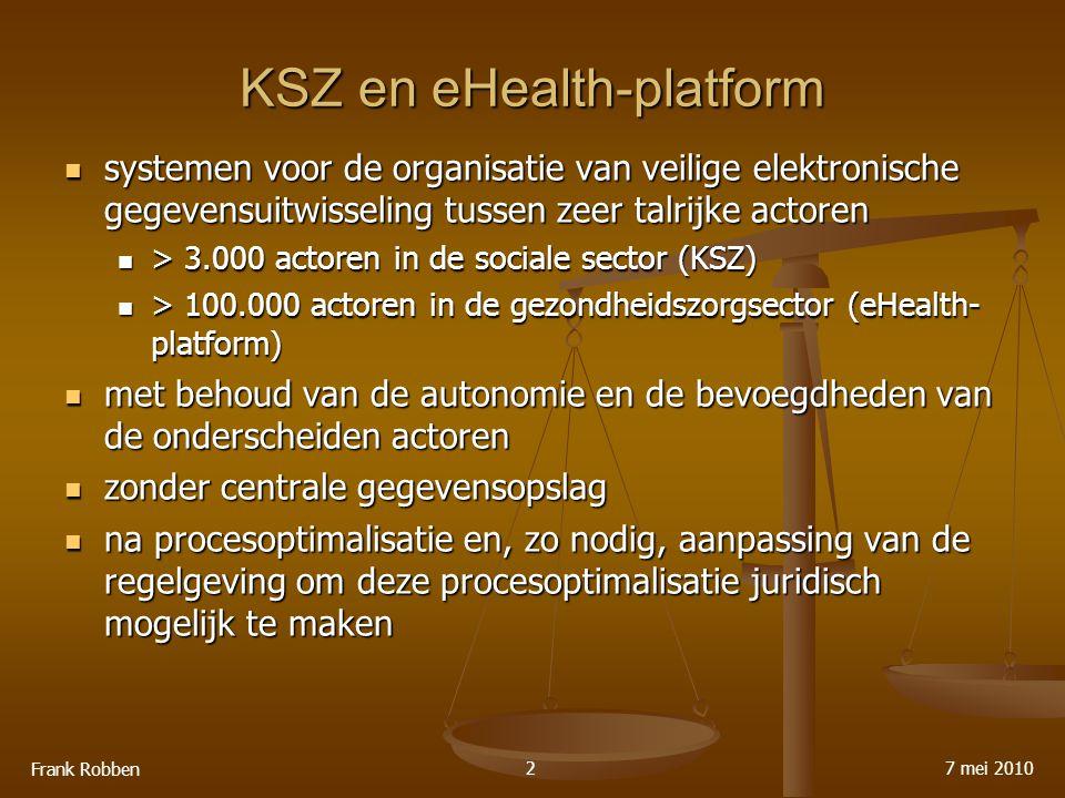 KSZ en eHealth-platform systemen voor de organisatie van veilige elektronische gegevensuitwisseling tussen zeer talrijke actoren systemen voor de organisatie van veilige elektronische gegevensuitwisseling tussen zeer talrijke actoren > 3.000 actoren in de sociale sector (KSZ) > 3.000 actoren in de sociale sector (KSZ) > 100.000 actoren in de gezondheidszorgsector (eHealth- platform) > 100.000 actoren in de gezondheidszorgsector (eHealth- platform) met behoud van de autonomie en de bevoegdheden van de onderscheiden actoren met behoud van de autonomie en de bevoegdheden van de onderscheiden actoren zonder centrale gegevensopslag zonder centrale gegevensopslag na procesoptimalisatie en, zo nodig, aanpassing van de regelgeving om deze procesoptimalisatie juridisch mogelijk te maken na procesoptimalisatie en, zo nodig, aanpassing van de regelgeving om deze procesoptimalisatie juridisch mogelijk te maken 7 mei 2010 Frank Robben 2