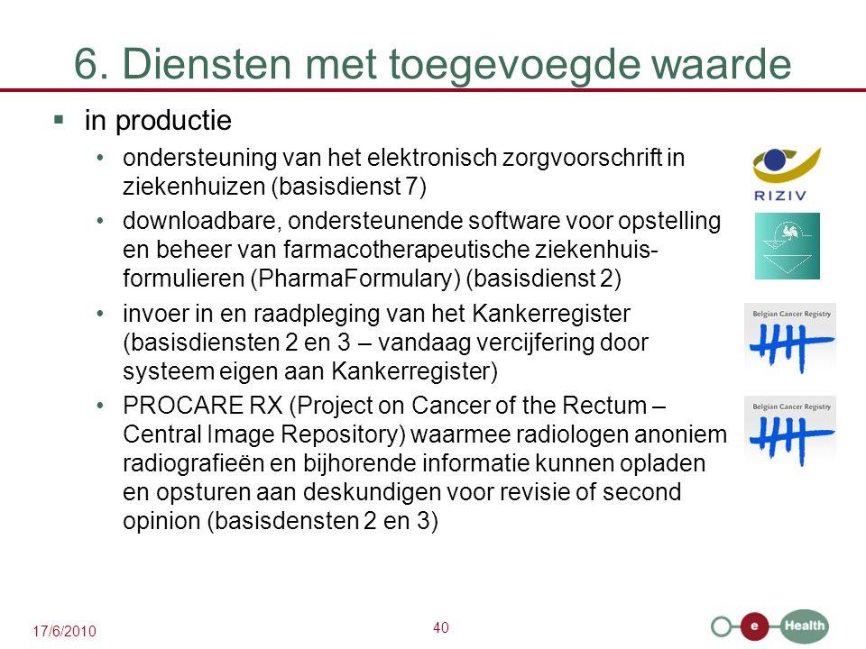 40 17/6/2010 6. Diensten met toegevoegde waarde  in productie ondersteuning van het elektronisch zorgvoorschrift in ziekenhuizen (basisdienst 7) down