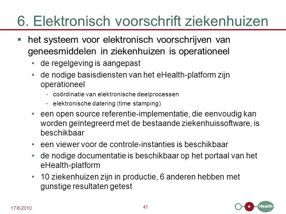 41 17/6/2010 6. Elektronisch voorschrift ziekenhuizen  het systeem voor elektronisch voorschrijven van geneesmiddelen in ziekenhuizen is operationeel