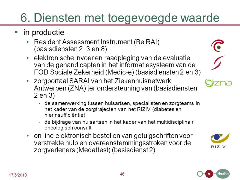 46 17/6/2010 6. Diensten met toegevoegde waarde  in productie Resident Assessment Instrument (BelRAI) (basisdiensten 2, 3 en 8) elektronische invoer