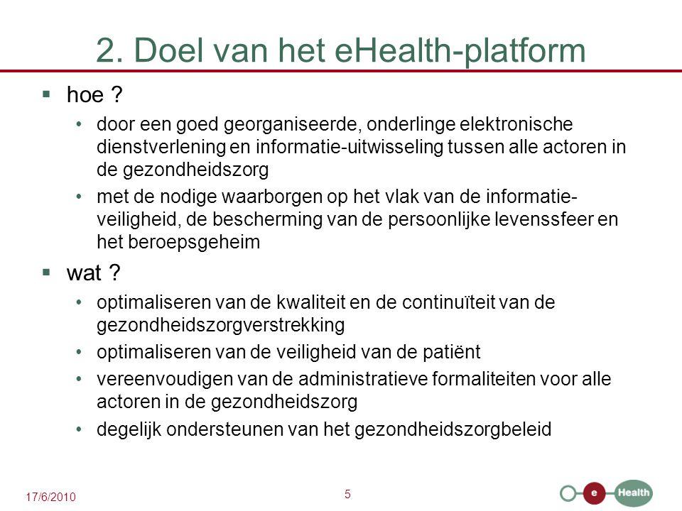 5 17/6/2010 2. Doel van het eHealth-platform  hoe ? door een goed georganiseerde, onderlinge elektronische dienstverlening en informatie-uitwisseling