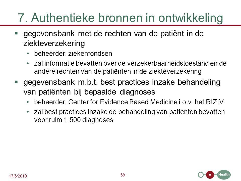 68 17/6/2010 7. Authentieke bronnen in ontwikkeling  gegevensbank met de rechten van de patiënt in de ziekteverzekering beheerder: ziekenfondsen zal