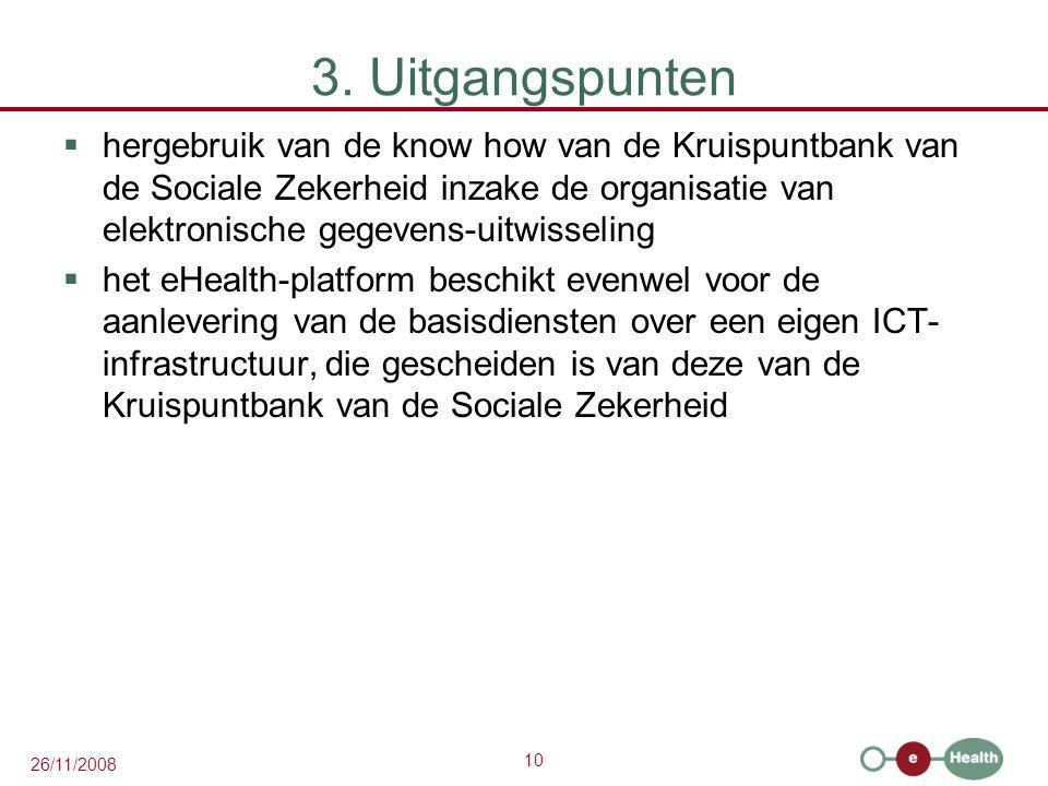 10 26/11/2008 3. Uitgangspunten  hergebruik van de know how van de Kruispuntbank van de Sociale Zekerheid inzake de organisatie van elektronische geg