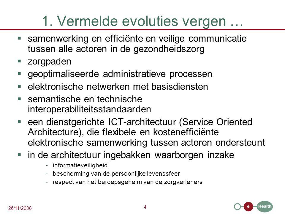 4 26/11/2008 1. Vermelde evoluties vergen …  samenwerking en efficiënte en veilige communicatie tussen alle actoren in de gezondheidszorg  zorgpaden