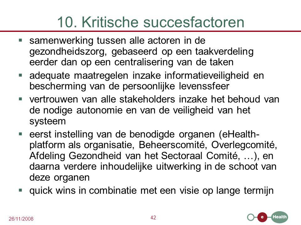 42 26/11/2008 10. Kritische succesfactoren  samenwerking tussen alle actoren in de gezondheidszorg, gebaseerd op een taakverdeling eerder dan op een