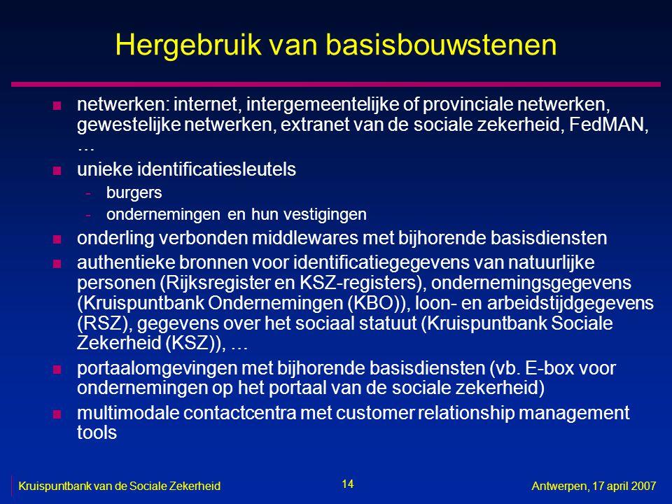 14 Kruispuntbank van de Sociale ZekerheidAntwerpen, 17 april 2007 Hergebruik van basisbouwstenen n netwerken: internet, intergemeentelijke of provinci