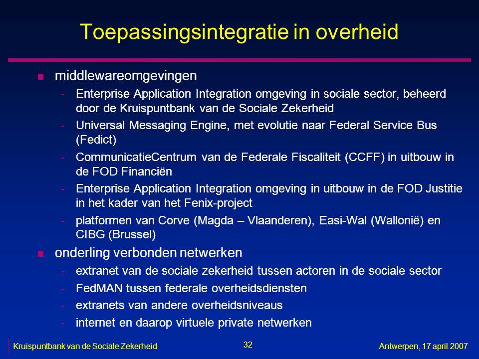 32 Kruispuntbank van de Sociale ZekerheidAntwerpen, 17 april 2007 Toepassingsintegratie in overheid n middlewareomgevingen -Enterprise Application Int