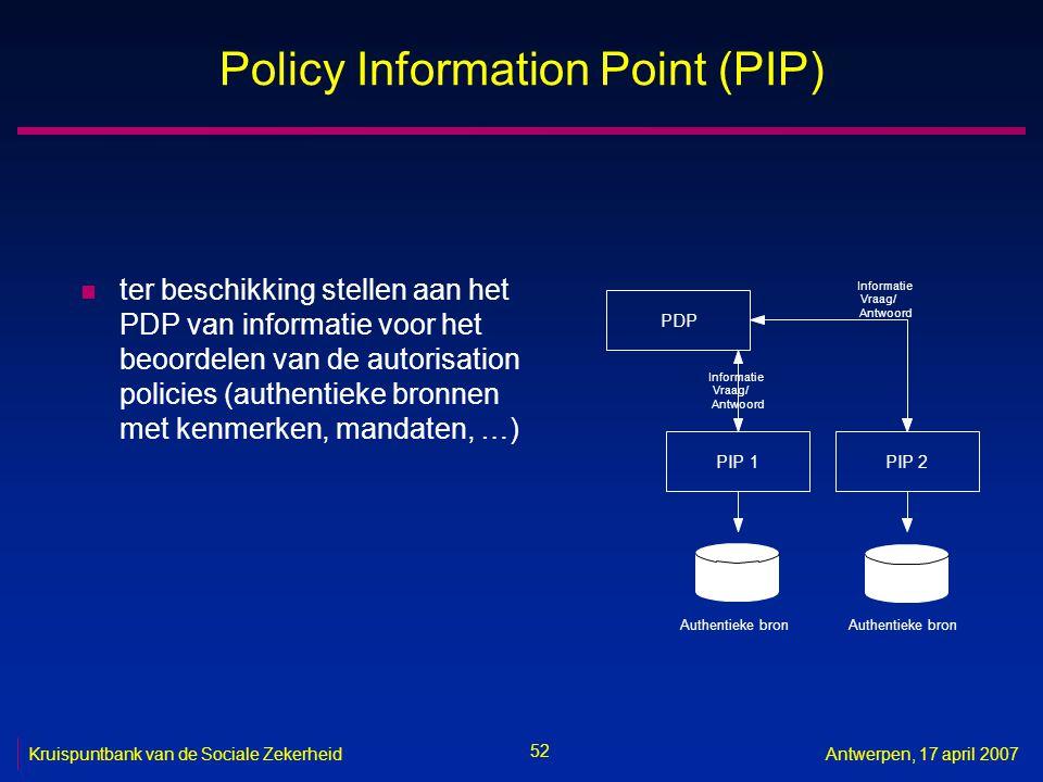 52 Kruispuntbank van de Sociale ZekerheidAntwerpen, 17 april 2007 Policy Information Point (PIP) n ter beschikking stellen aan het PDP van informatie