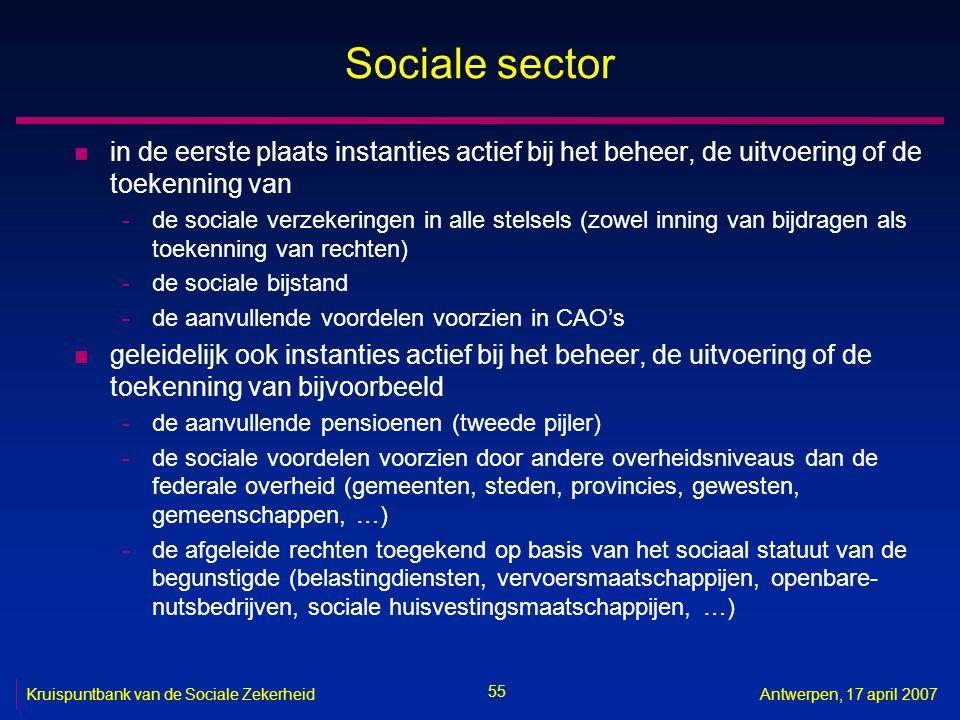 55 Kruispuntbank van de Sociale ZekerheidAntwerpen, 17 april 2007 Sociale sector n in de eerste plaats instanties actief bij het beheer, de uitvoering of de toekenning van -de sociale verzekeringen in alle stelsels (zowel inning van bijdragen als toekenning van rechten) -de sociale bijstand -de aanvullende voordelen voorzien in CAO's n geleidelijk ook instanties actief bij het beheer, de uitvoering of de toekenning van bijvoorbeeld -de aanvullende pensioenen (tweede pijler) -de sociale voordelen voorzien door andere overheidsniveaus dan de federale overheid (gemeenten, steden, provincies, gewesten, gemeenschappen, …) -de afgeleide rechten toegekend op basis van het sociaal statuut van de begunstigde (belastingdiensten, vervoersmaatschappijen, openbare- nutsbedrijven, sociale huisvestingsmaatschappijen, …)