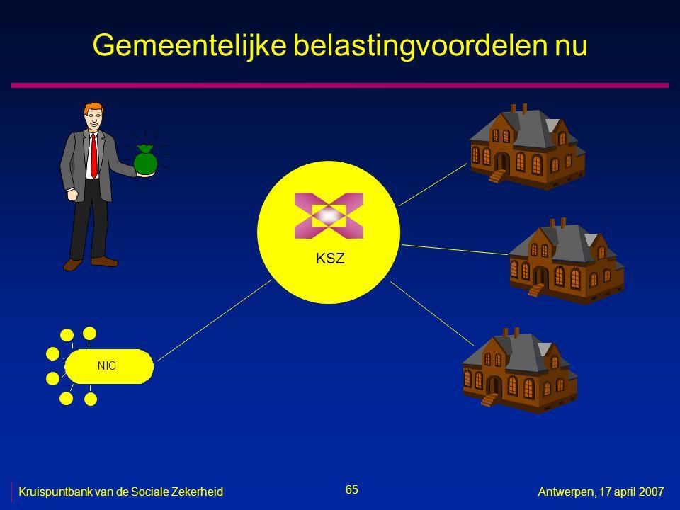 65 Kruispuntbank van de Sociale ZekerheidAntwerpen, 17 april 2007 Gemeentelijke belastingvoordelen nu KSZ NIC