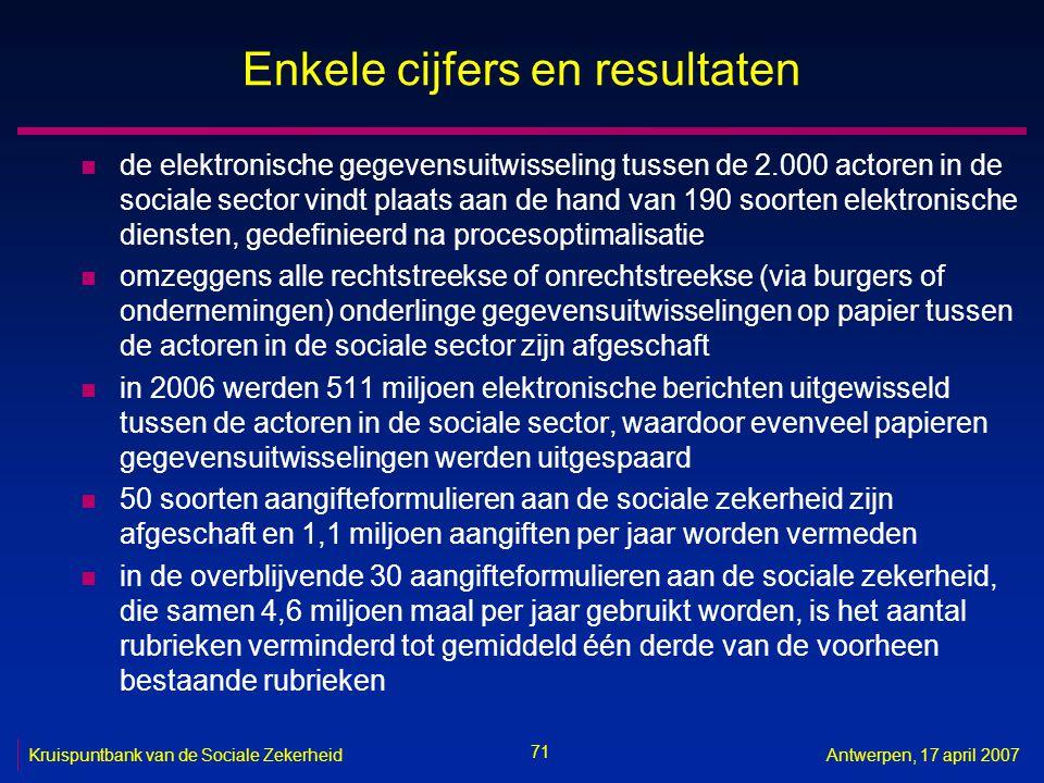 71 Kruispuntbank van de Sociale ZekerheidAntwerpen, 17 april 2007 Enkele cijfers en resultaten n de elektronische gegevensuitwisseling tussen de 2.000