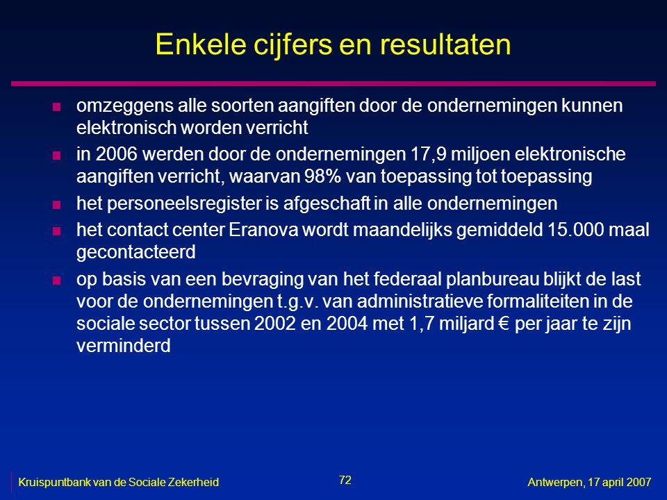 72 Kruispuntbank van de Sociale ZekerheidAntwerpen, 17 april 2007 Enkele cijfers en resultaten n omzeggens alle soorten aangiften door de onderneminge