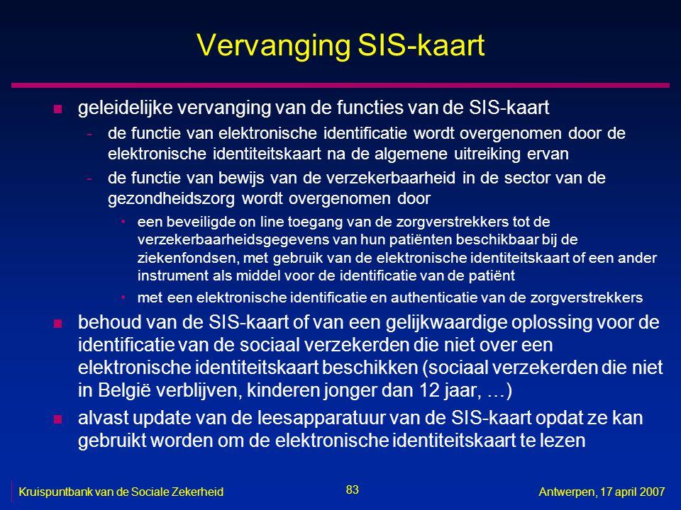 83 Kruispuntbank van de Sociale ZekerheidAntwerpen, 17 april 2007 Vervanging SIS-kaart n geleidelijke vervanging van de functies van de SIS-kaart -de