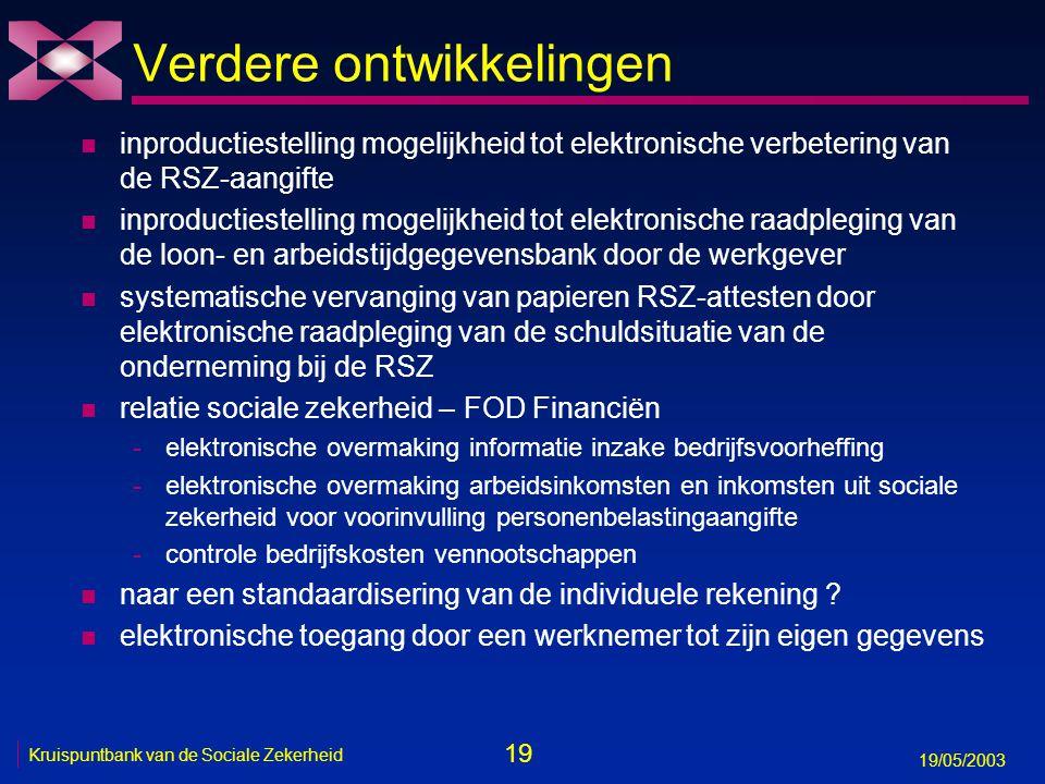 20 19/05/2003 Kruispuntbank van de Sociale Zekerheid n van meervoudige opvraging van informatie via diverse, complexe, niet-gecoördineerde papieren formulieren Aangiften sociale risico's