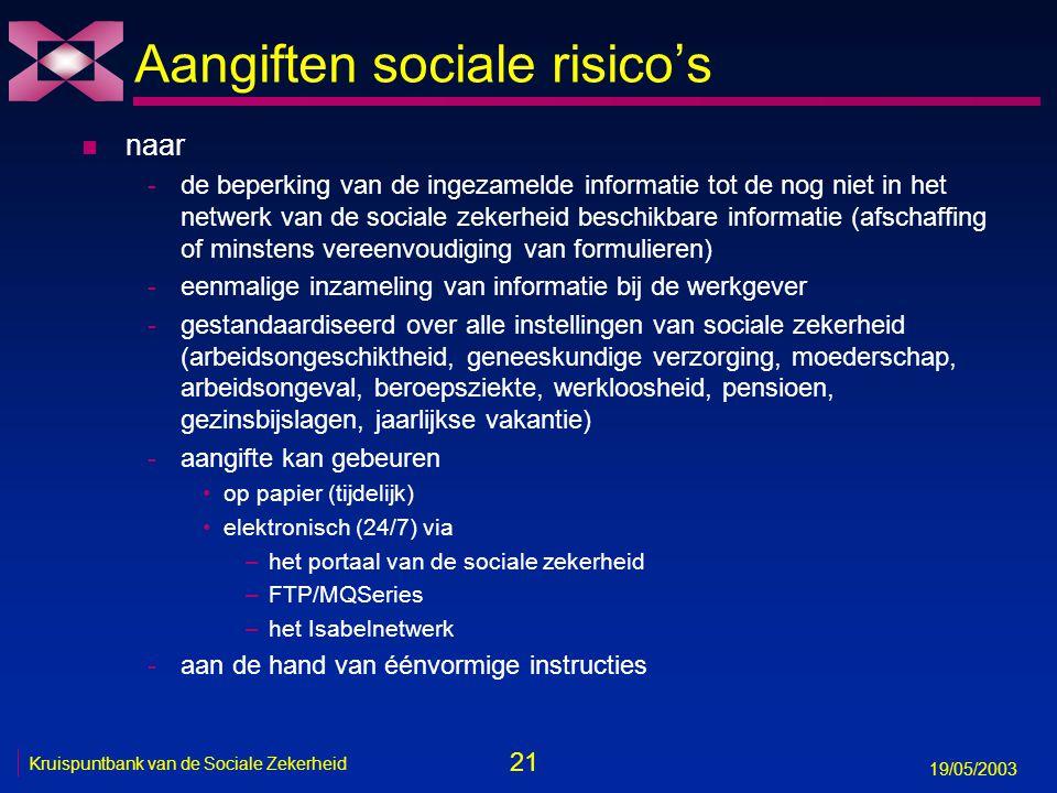 22 19/05/2003 Kruispuntbank van de Sociale Zekerheid Aangiften sociale risico's n één aangifte = één scenario n 3 mogelijke aangiftemomenten -aanvang van het sociaal risico -herhaling of verderzetting van het sociaal risico (bv.