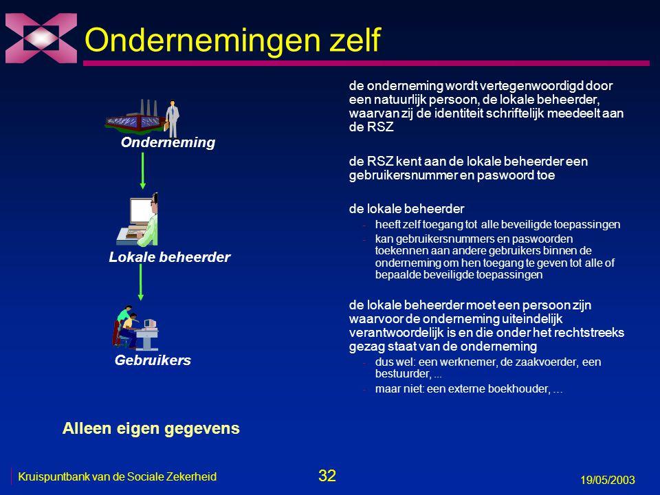 32 19/05/2003 Kruispuntbank van de Sociale Zekerheid Ondernemingen zelf de onderneming wordt vertegenwoordigd door een natuurlijk persoon, de lokale beheerder, waarvan zij de identiteit schriftelijk meedeelt aan de RSZ de RSZ kent aan de lokale beheerder een gebruikersnummer en paswoord toe de lokale beheerder -heeft zelf toegang tot alle beveiligde toepassingen -kan gebruikersnummers en paswoorden toekennen aan andere gebruikers binnen de onderneming om hen toegang te geven tot alle of bepaalde beveiligde toepassingen de lokale beheerder moet een persoon zijn waarvoor de onderneming uiteindelijk verantwoordelijk is en die onder het rechtstreeks gezag staat van de onderneming -dus wel: een werknemer, de zaakvoerder, een bestuurder,...