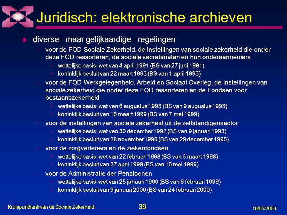 39 19/05/2003 Kruispuntbank van de Sociale Zekerheid Juridisch: elektronische archieven n diverse - maar gelijkaardige - regelingen -voor de FOD Sociale Zekerheid, de instellingen van sociale zekerheid die onder deze FOD ressorteren, de sociale secretariaten en hun onderaannemers wettelijke basis: wet van 4 april 1991 (BS van 27 juni 1991) koninklijk besluit van 22 maart 1993 (BS van 1 april 1993) -voor de FOD Werkgelegenheid, Arbeid en Sociaal Overleg, de instellingen van sociale zekerheid die onder deze FOD ressorteren en de Fondsen voor bestaanszekerheid wettelijke basis: wet van 6 augustus 1993 (BS van 9 augustus 1993) koninklijk besluit van 15 maart 1999 (BS van 7 mei 1999) -voor de instellingen van sociale zekerheid uit de zelfstandigensector wettelijke basis: wet van 30 december 1992 (BS van 9 januari 1993) koninklijk besluit van 28 november 1995 (BS van 29 december 1995) -voor de zorgverleners en de ziekenfondsen wettelijke basis: wet van 22 februari 1998 (BS van 3 maart 1998) koninklijk besluit van 27 april 1999 (BS van 15 mei 1999) -voor de Administratie der Pensioenen wettelijke basis: wet van 25 januari 1999 (BS van 6 februari 1999) koninklijk besluit van 9 januari 2000 (BS van 24 februari 2000)