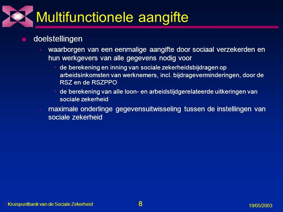 9 19/05/2003 Kruispuntbank van de Sociale Zekerheid Toepassingen n 4 soorten elektronische aangiften -onmiddellijke aangifte van het begin en het einde van een arbeidsrelatie (DIMONA-aangifte) -kwartaalaangifte van loon- en arbeidstijdgegevens -aangifte van een sociaal risico (ASR) wanneer dat risico zich voordoet -overige aangiften, zoals de tijdelijke detachering van een buitenlandse werknemer naar België of de werkmelding n mogelijkheid tot interactieve elektronische verbetering van aangiften n mogelijkheid tot interactieve elektronische raadpleging van -aangiften -personeelsbestand -andere nuttige informatie, zoals het feit of een werkgever in orde is met zijn RSZ-verplichtingen