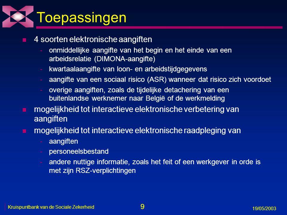 10 19/05/2003 Kruispuntbank van de Sociale Zekerheid Interactie Onderneming RSZ Instellingen sociale zekerheid Aangifte Verwerken Feedback Verbeteren Onderneming