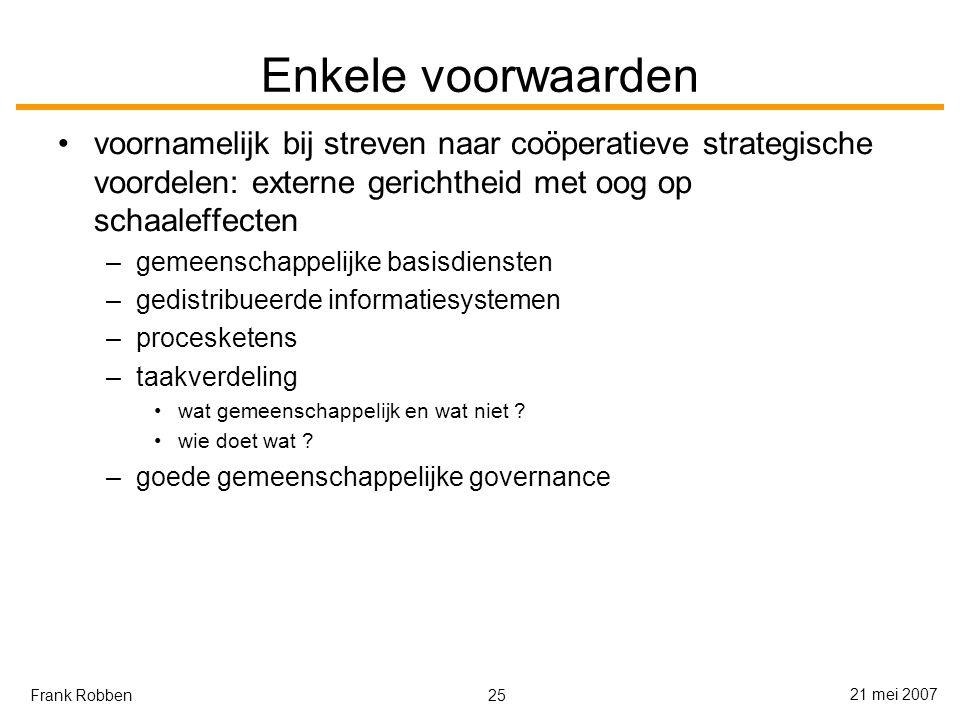 25 21 mei 2007 Frank Robben Enkele voorwaarden voornamelijk bij streven naar coöperatieve strategische voordelen: externe gerichtheid met oog op schaaleffecten –gemeenschappelijke basisdiensten –gedistribueerde informatiesystemen –procesketens –taakverdeling wat gemeenschappelijk en wat niet .