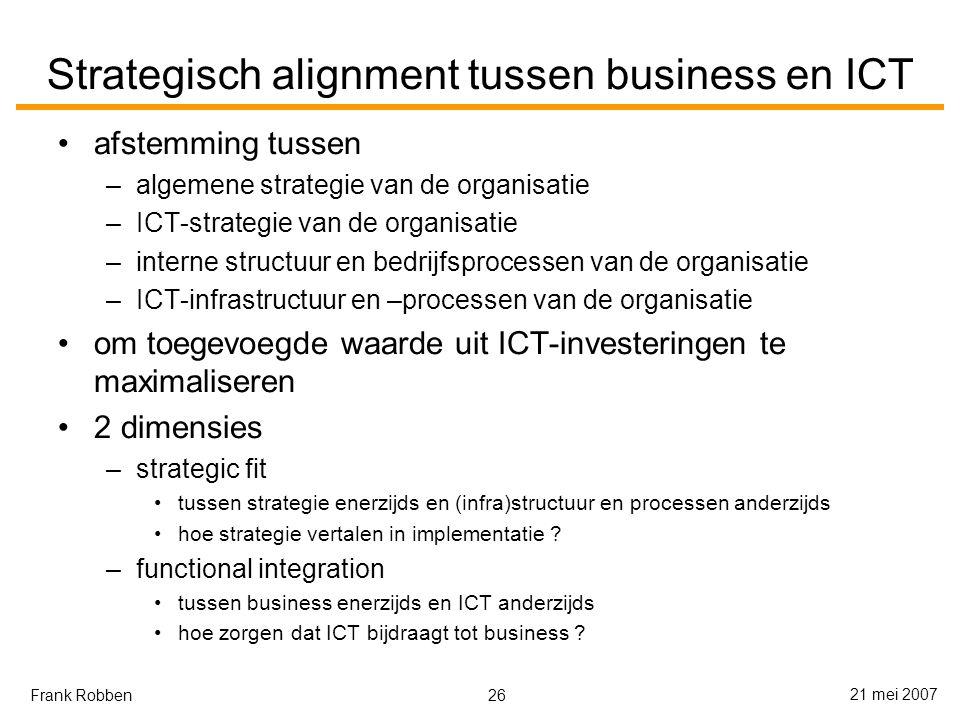 26 21 mei 2007 Frank Robben Strategisch alignment tussen business en ICT afstemming tussen –algemene strategie van de organisatie –ICT-strategie van de organisatie –interne structuur en bedrijfsprocessen van de organisatie –ICT-infrastructuur en –processen van de organisatie om toegevoegde waarde uit ICT-investeringen te maximaliseren 2 dimensies –strategic fit tussen strategie enerzijds en (infra)structuur en processen anderzijds hoe strategie vertalen in implementatie .