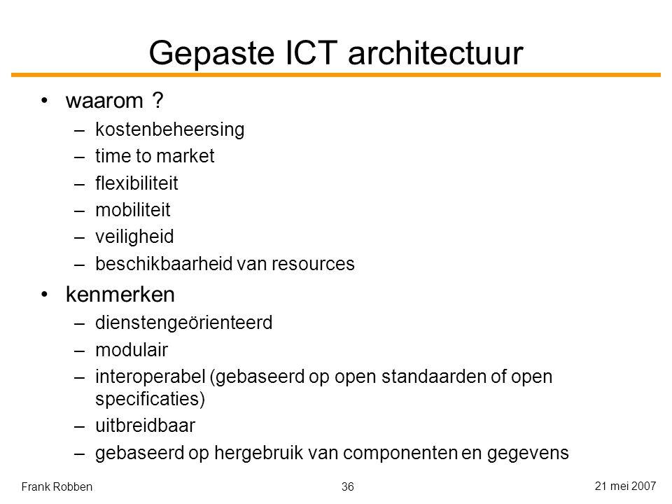 36 21 mei 2007 Frank Robben Gepaste ICT architectuur waarom .