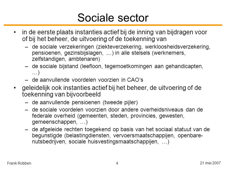 4 21 mei 2007 Frank Robben Sociale sector in de eerste plaats instanties actief bij de inning van bijdragen voor of bij het beheer, de uitvoering of de toekenning van –de sociale verzekeringen (ziekteverzekering, werkloosheidsverzekering, pensioenen, gezinsbijslagen, …) in alle stelsels (werknemers, zelfstandigen, ambtenaren) –de sociale bijstand (leefloon, tegemoetkomingen aan gehandicapten, …) –de aanvullende voordelen voorzien in CAO's geleidelijk ook instanties actief bij het beheer, de uitvoering of de toekenning van bijvoorbeeld –de aanvullende pensioenen (tweede pijler) –de sociale voordelen voorzien door andere overheidsniveaus dan de federale overheid (gemeenten, steden, provincies, gewesten, gemeenschappen, …) –de afgeleide rechten toegekend op basis van het sociaal statuut van de begunstigde (belastingdiensten, vervoersmaatschappijen, openbare- nutsbedrijven, sociale huisvestingsmaatschappijen, …)