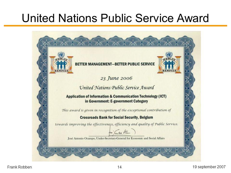 14 19 september 2007 Frank Robben United Nations Public Service Award