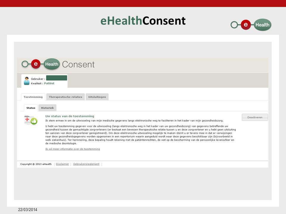 eHealthConsent 22/03/2014