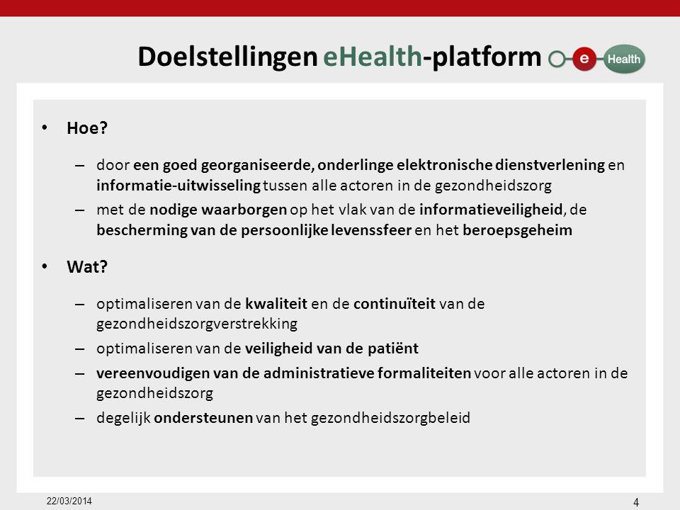 Roadmap 2013-2018 (www.rtreh.be) Veralgemeend gebruik van de eHealthBox Traceerbaarheid van implantaten Uitwerken van een nationaal terminologiebeleid Uitbreiding van het hub-metahubsysteem tot psychiatrische ziekenhuizen en rustoorden Evolutie van BelRAI als evaluatie-instrument Maatschappelijk debat over de al dan niet modulaire toegangsrechten tot patiëntgegevens Organisatie van toegang door de patiënt tot zijn gegevens Aanpassing van de reglementering en van de financiering als incentives voor het ICT-gebruik 22/03/2014 45