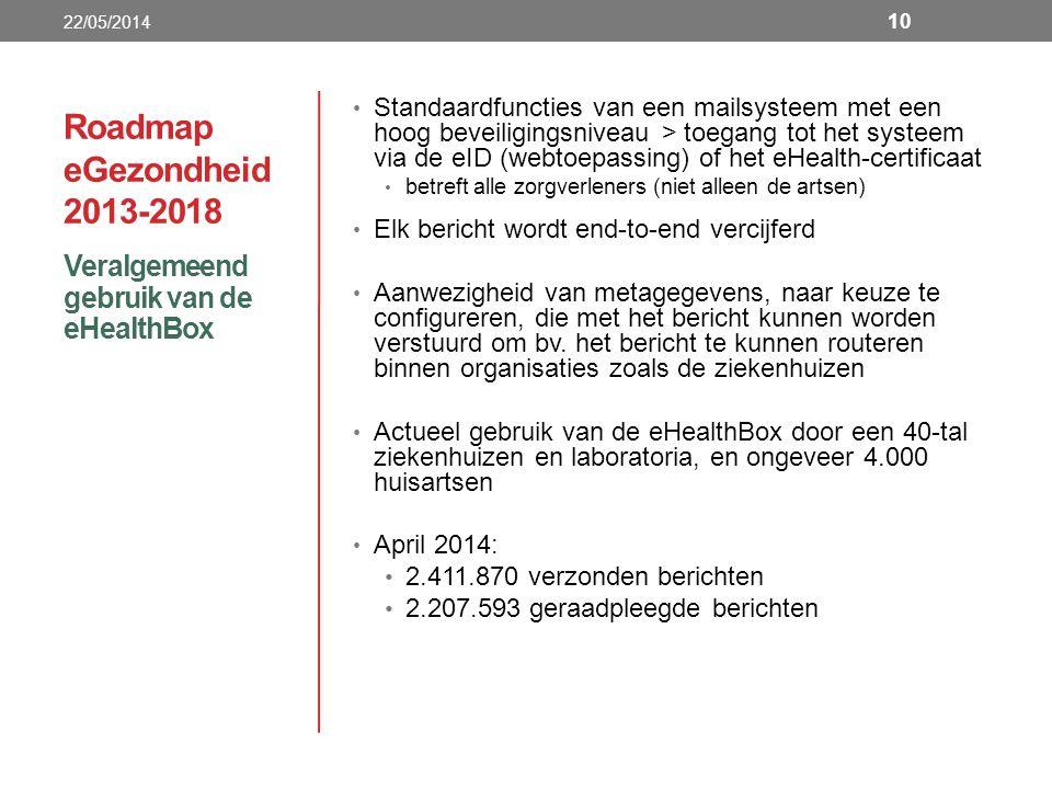 Roadmap eGezondheid 2013-2018 Veralgemeend gebruik van de eHealthBox 22/05/2014 10 Standaardfuncties van een mailsysteem met een hoog beveiligingsniveau > toegang tot het systeem via de eID (webtoepassing) of het eHealth-certificaat betreft alle zorgverleners (niet alleen de artsen) Elk bericht wordt end-to-end vercijferd Aanwezigheid van metagegevens, naar keuze te configureren, die met het bericht kunnen worden verstuurd om bv.