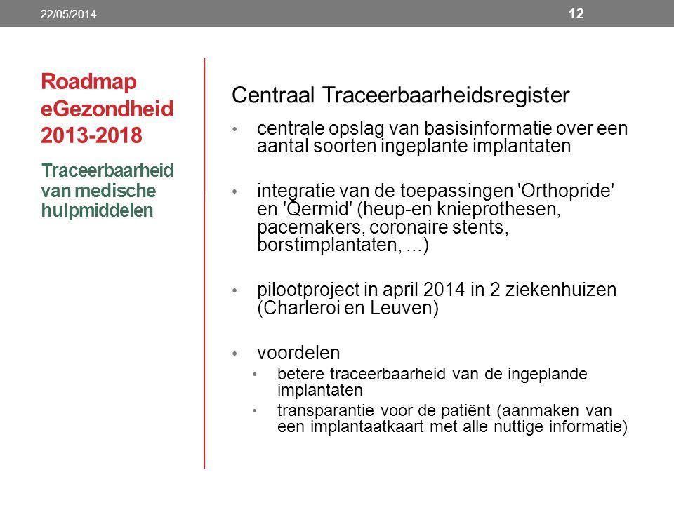 Roadmap eGezondheid 2013-2018 Centraal Traceerbaarheidsregister centrale opslag van basisinformatie over een aantal soorten ingeplante implantaten integratie van de toepassingen Orthopride en Qermid (heup-en knieprothesen, pacemakers, coronaire stents, borstimplantaten,...) pilootproject in april 2014 in 2 ziekenhuizen (Charleroi en Leuven) voordelen betere traceerbaarheid van de ingeplande implantaten transparantie voor de patiënt (aanmaken van een implantaatkaart met alle nuttige informatie) Traceerbaarheid van medische hulpmiddelen 22/05/2014 12